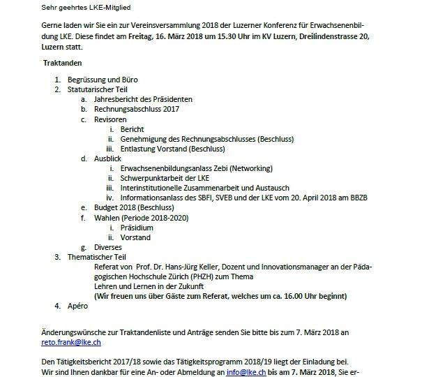 Einladung zur Vereinsversammlung 2018